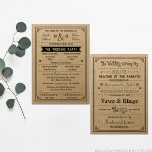 Vintage DIY Wedding Program