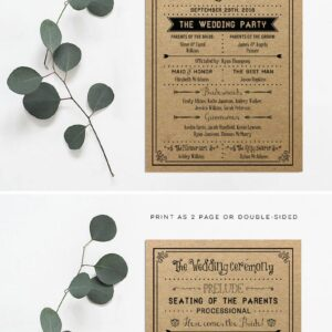 Vintage DIY Wedding Program
