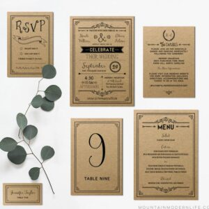 Printable DIY Vintage Wedding Invitation Set
