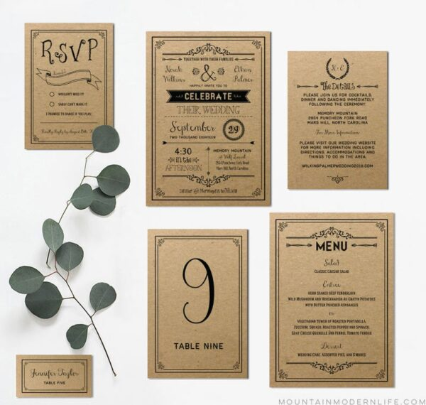 Printable DIY Vintage Wedding Invitation Set