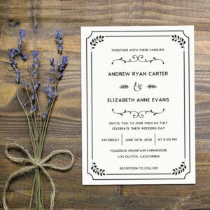 Whimsical Rustic DIY Wedding Invitation Set