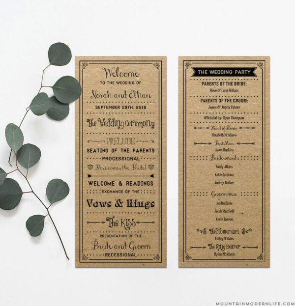 Vintage Inspired DIY Wedding Program