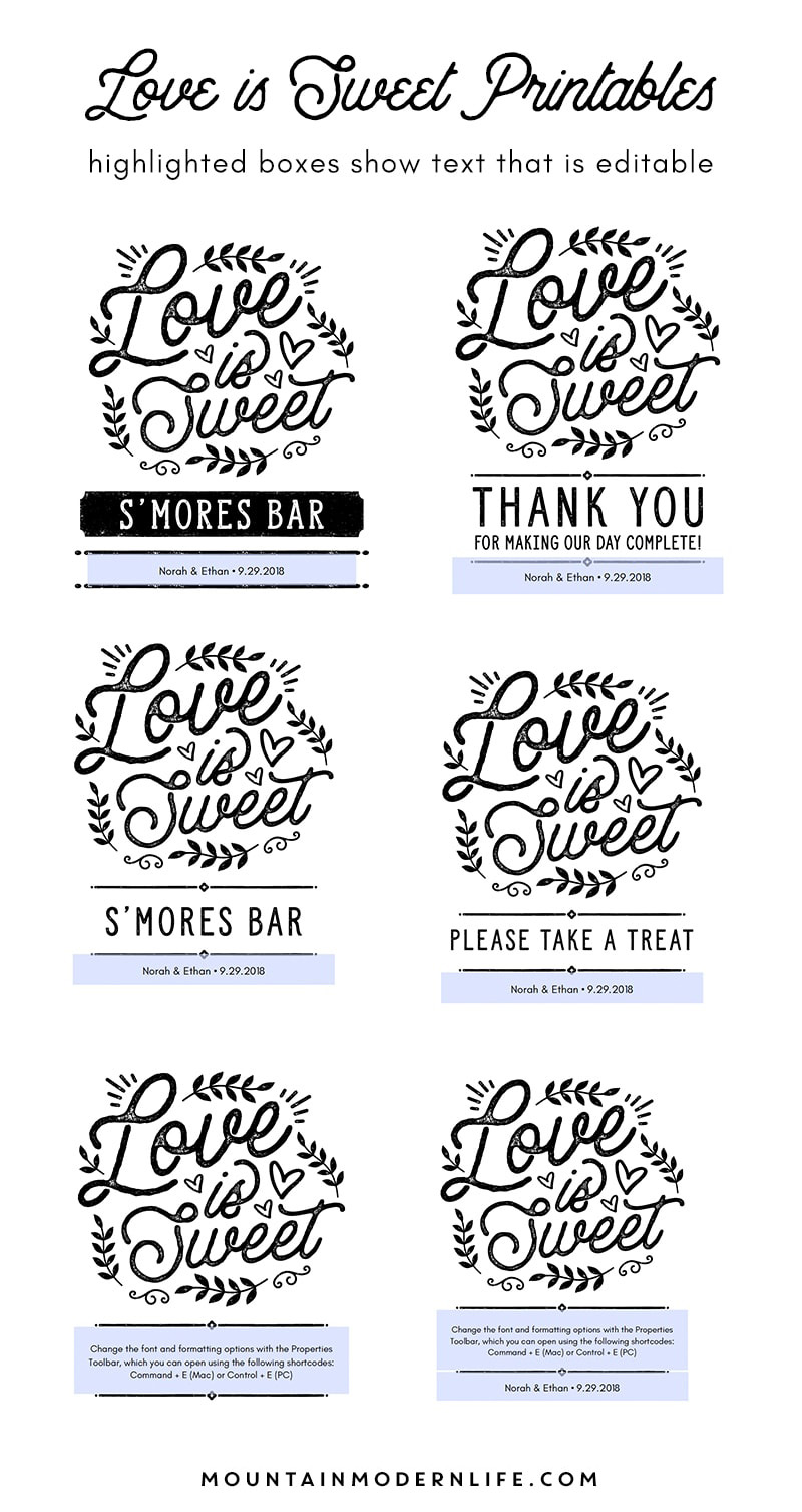 Editable Love is Sweet Printable