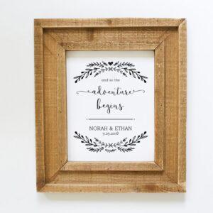 Adventure Begins Wedding Sign