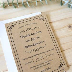 Black Whimsical Rustic DIY Wedding Invitation