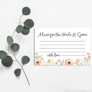 Floral Peach Newlywed Advice Cards