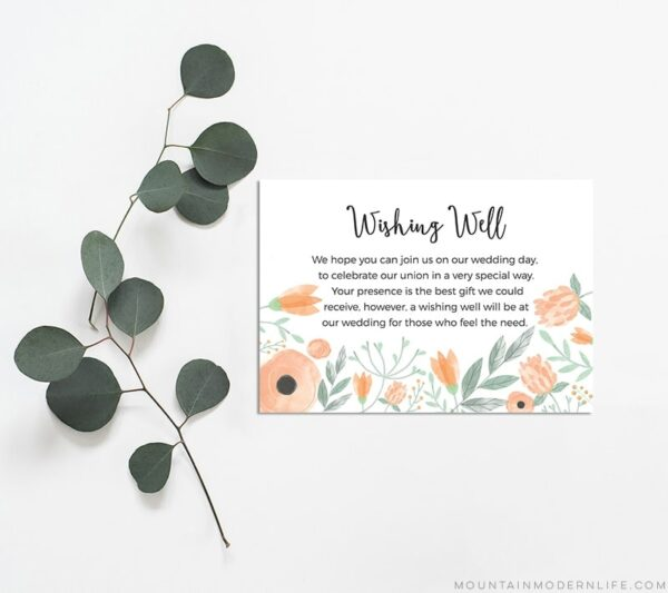 Floral Peach DIY Wishing Well Card Template