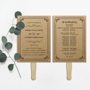 Whimsical Rustic DIY Wedding Program Fan