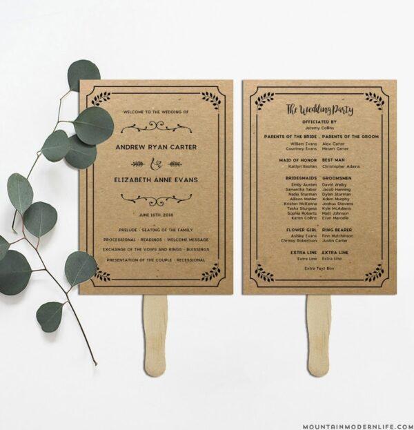 Whimsical Rustic DIY Wedding Program Fan