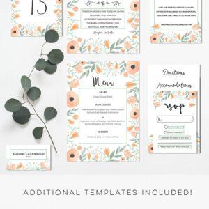 Floral Peach DIY Wedding Invitation Set