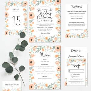 Floral Peach DIY Wedding Invitation Set