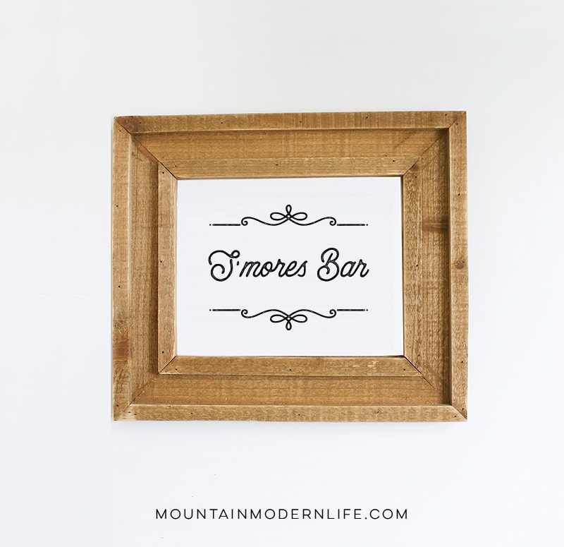 Instantly download these S'mores Bar Printables, perfect for a rustic wedding, holiday party, or baby shower! MountainModernLife.com