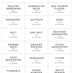 Printable All Natural Spice Labels - 2.25x1.25