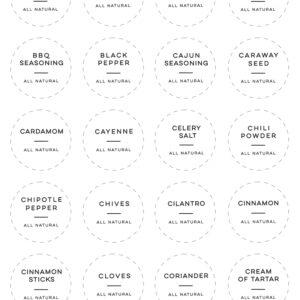 "Printable All Natural Spice Labels - 1.5"" Circle"
