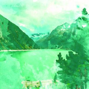 Watercolor Mountains Print